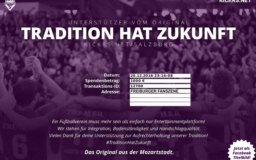 Bekanntgabe Spendensumme Austria Salzburg